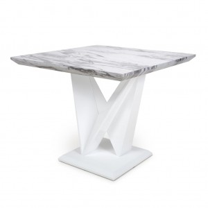 Saturn Square Marble Effect Top High Gloss Grey And White Dining Table