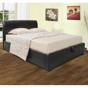 Savona Faux Leather Storage Double Bed In Black