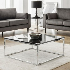 Scala Black Marble Top Coffee Table With Chrome Frame