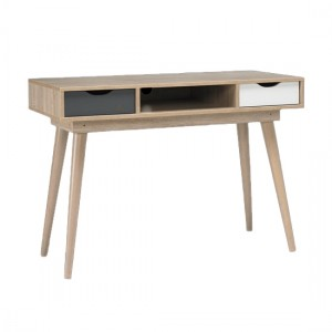 Scandi Oak Wooden Computer Desk With Grey And White Drawers