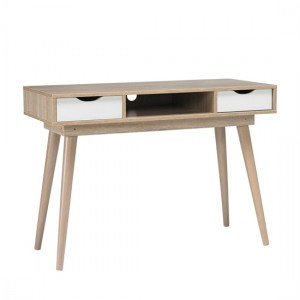 Scandi Oak Wooden Computer Desk With White Drawers