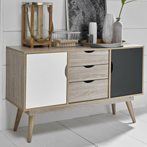 Scandi Oak Wooden Sideboard With 1 Grey And 1 White Doors 3 Drawers