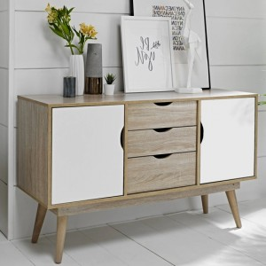 Scandi Oak Wooden Sideboard With 2 White Doors And 3 Drawers