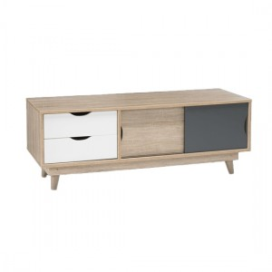 Scandi Wooden TV Stand In Grey And Oak With 2 Drawers