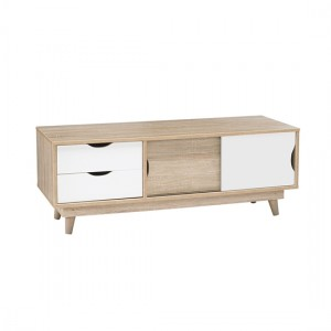 Scandi Wooden TV Stand In White And Oak With 2 Drawers