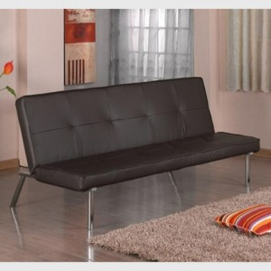 Seattle Faux Leather Sofa Bed In Brown With Chrome Legs