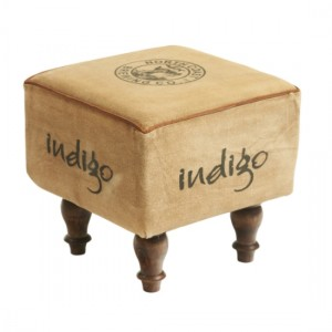 Seeba Fabric Upholstered Stool In Cream With Dark Brown Wooden legs