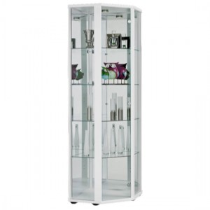 Selby 1 Door Corner Display Cabinet In White With 5 Shelves