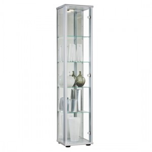 Selby 1 Door Display Cabinet In Silver With 5 Shelves