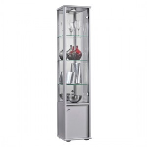 Selby 1 Door Display Cabinet In Silver With Base Unit And 4 Shelves