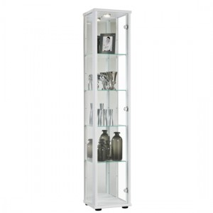 Selby 1 Door Display Cabinet In White With 5 Shelves