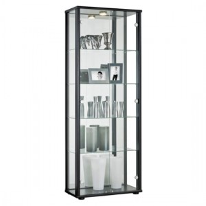 Selby 2 Doors Display Cabinet In Black With 5 Shelves