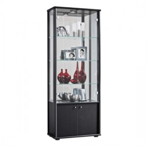 Selby 2 Doors Display Cabinet In Black With Base Unit And 4 Shelves
