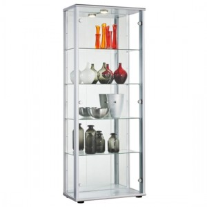 Selby 2 Doors Display Cabinet In Silver With 5 Shelves