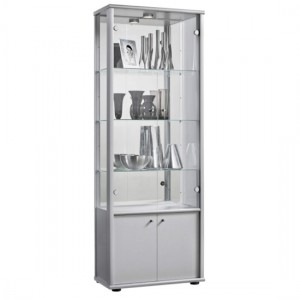 Selby 2 Doors Display Cabinet In Silver With Base Unit And 4 Shelves