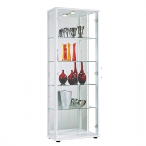 Selby 2 Doors Display Cabinet In White With 5 Shelves