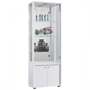 Selby 2 Doors Display Cabinet In White With Base Unit And 4 Shelves