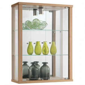 Selby Wall Mounted Display Cabinet In Oak With 3 Shelves