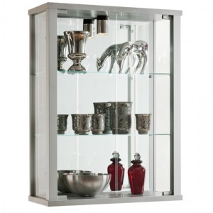 Selby Wall Mounted Display Cabinet In Silver With 3 Shelves