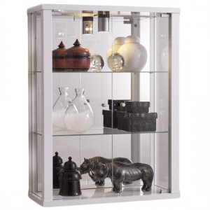 Selby Wall Mounted Display Cabinet In White With 3 Shelves