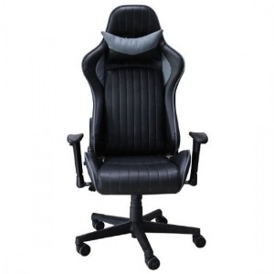 Senna Faux Leather Adjustable Gaming Chair In Black And Grey
