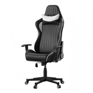 Senna Faux Leather Adjustable Gaming Chair In Black And White