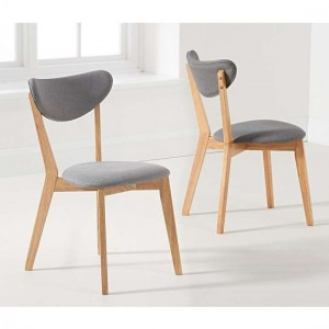 Seth Oak Dining Chairs In Pair With Grey Fabric Seat