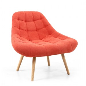Shell Chenille Effect Fabric Armchair In Brick Orange