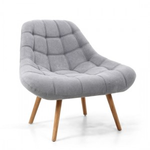 Shell Chenille Effect Fabric Armchair In Light Grey