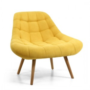 Shell Chenille Effect Fabric Armchair In Sunny Yellow