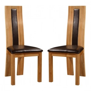 Shirley Oak Wooden Dining Chairs In Pair