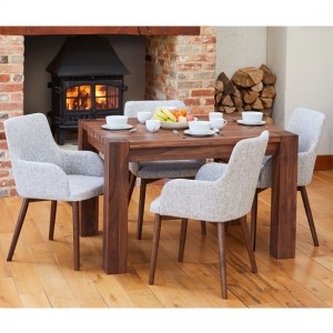 Mayan Wooden Dining Table In Walnut With 4 Vrux Light Grey Chairs