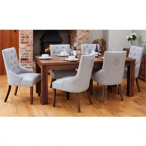 Shiro Extending Wooden Dining Table In Walnut With 6 Vrux Grey Armchairs