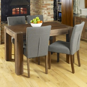 Shiro Extending Wooden Dining Table In Walnut With 6 Vrux Slate Chairs