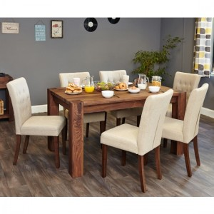 Shiro Large Wooden Dining Table In Walnut With 6 Vrux Biscuit Chairs