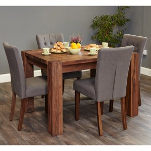 Shiro Large Wooden Dining Table In Walnut With 6 Vrux Slate Chairs