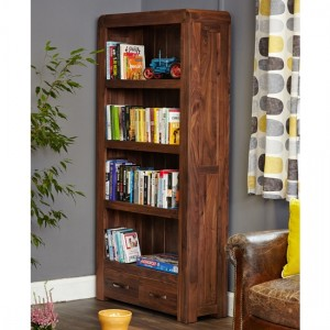 Shiro Large Wooden 2 Drawers Bookcase In Walnut