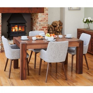 Shiro Medium Wooden Dining Table In Walnut With 4 Vrux Light Grey chairs