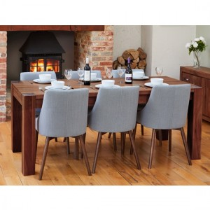 Mayan Large Wooden Dining Table In Walnut With 6 Vrux Grey Chairs
