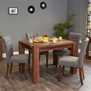 Mayan Large Wooden Dining Table In Walnut With 6 Vrux Slate Chairs