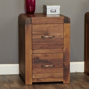 Shiro Wooden 2 Drawers Office Filing Cabinet In Walnut