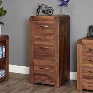 Shiro Wooden 3 Drawers Office Filing Cabinet In Walnut
