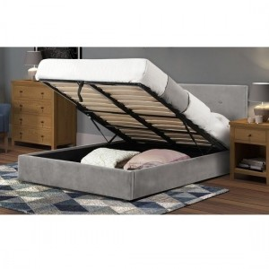 Shoreditch Velvet Lift-Up Storage Double Bed In Slate
