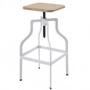 Shoreditch Wooden Bar Stool With White Metal Legs