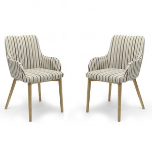 Sidcup Chenille Stripe Duck Egg Fabric Dining Chair In Pair
