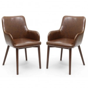 Sidcup Antique Brown Leather Effect Dining Chair In Pair
