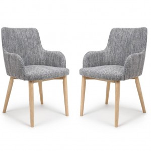 Sidcup Tweed Grey Fabric Dining Chair In Pair
