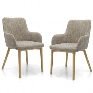 Sidcup Tweed Oatmeal Fabric Dining Chair In Pair