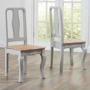 Sienna Grey Wooden Dining Chairs With Oak Seat In Pair