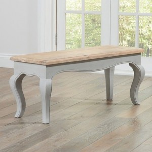 Sienna Wooden Dining Bench In Oak And Grey